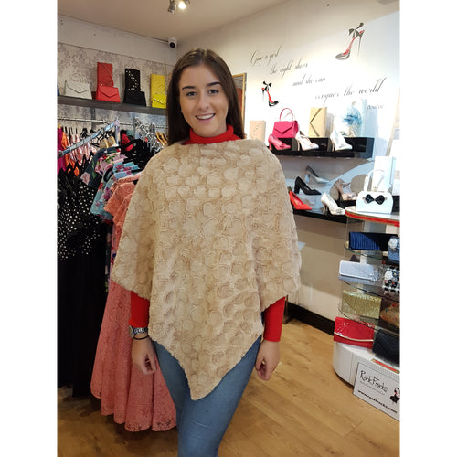 Cream Poncho - Soft Faux Fur