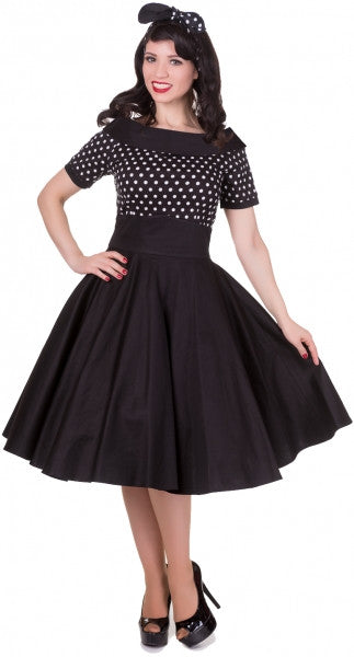 Darlene 50's Style Swing Dress Black Polka Dot