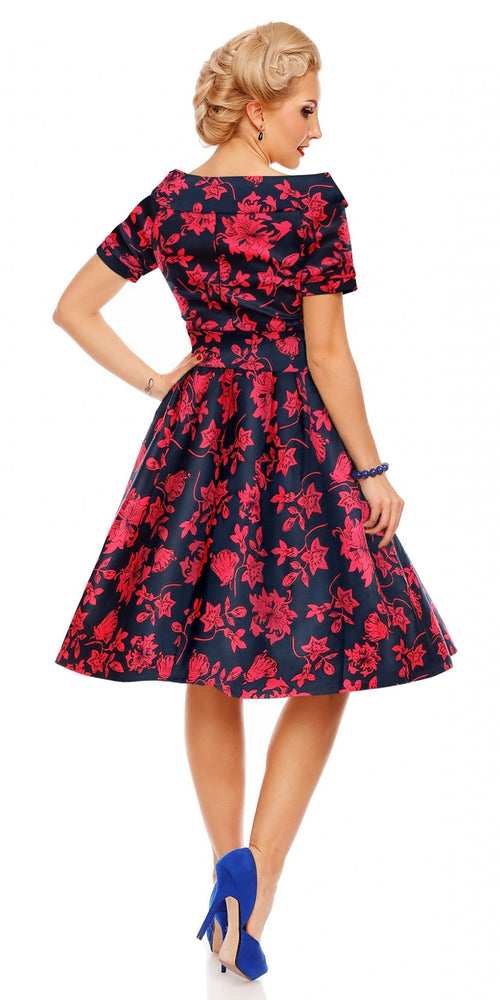 94ad4c3f9fd4 Darlene 50's Style Swing Dress Blue/Red Floral
