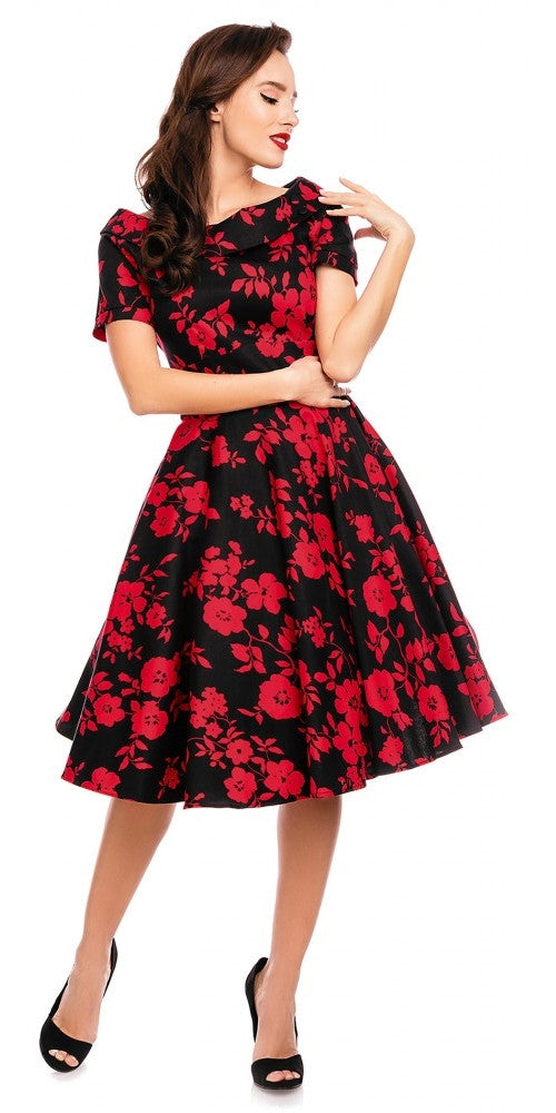 Darlene 50's Style Swing Dress Black & Red Floral
