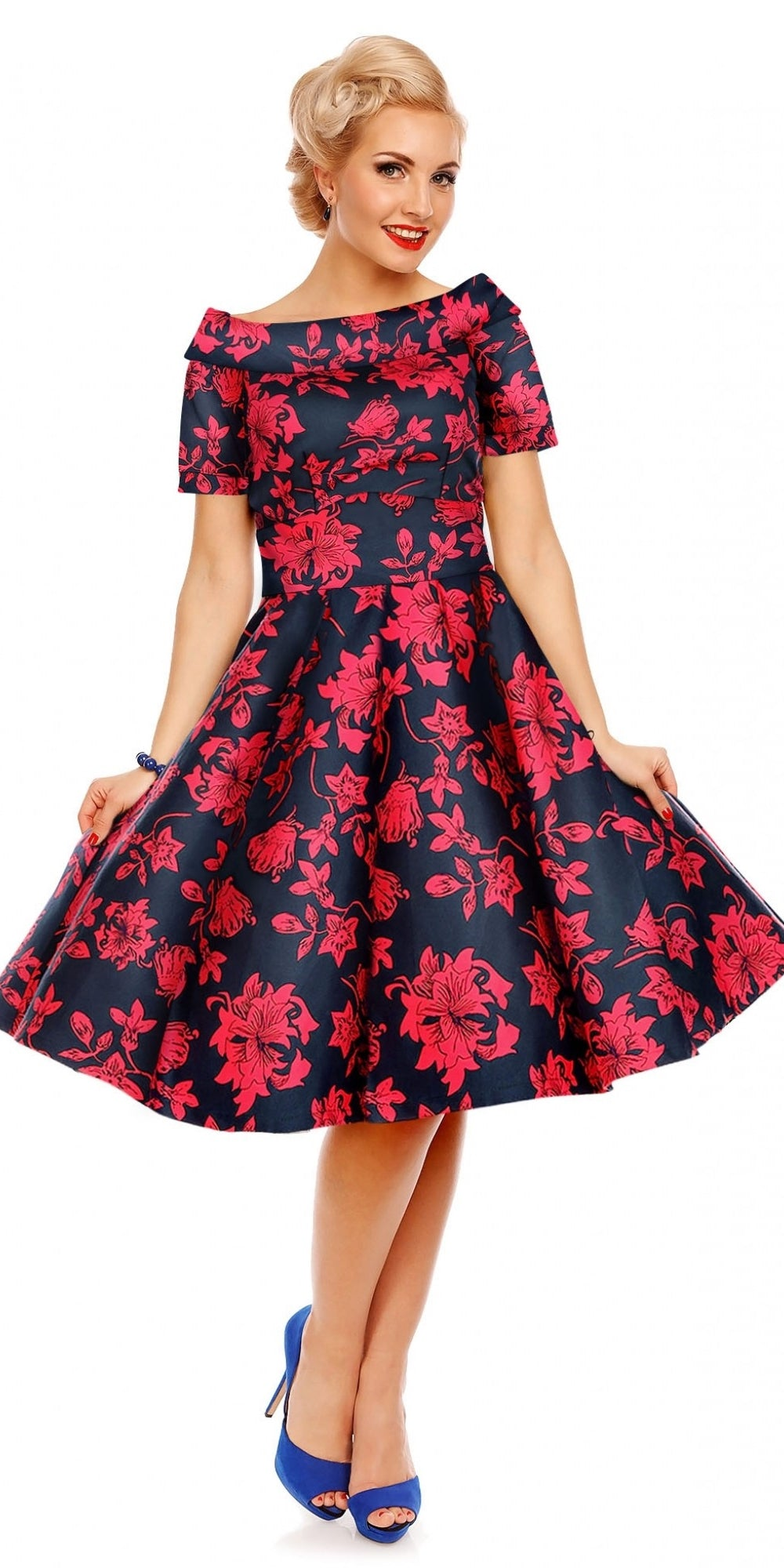 Darlene 50's Style Swing Dress Blue/Red Floral