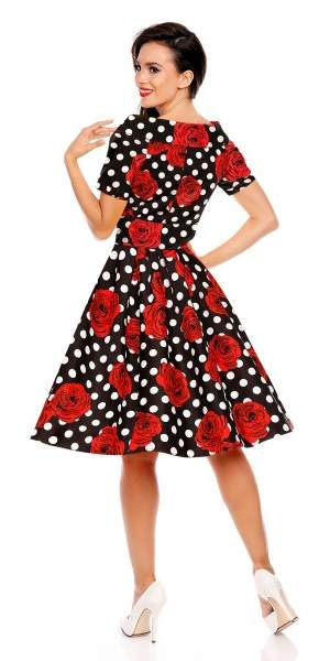 Darlene 50's Style Swing Dress Rose & Polka Dot