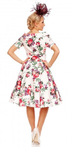 Darlene 1950's Swing Dress White Floral