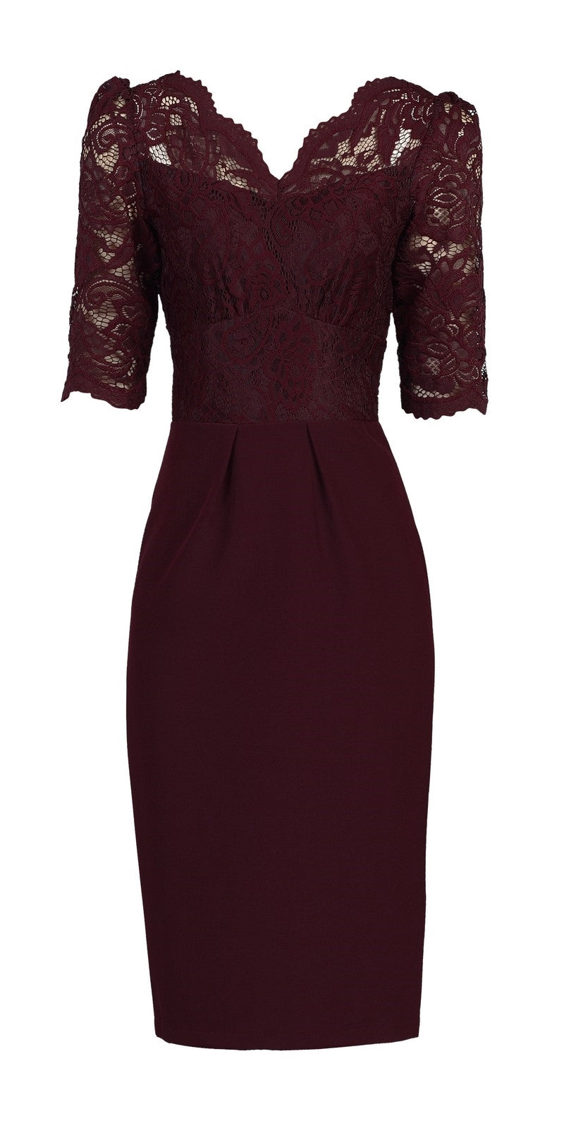 d047798f59c1 Deirdre Lace Sleeve Wiggle Dress - Burgundy