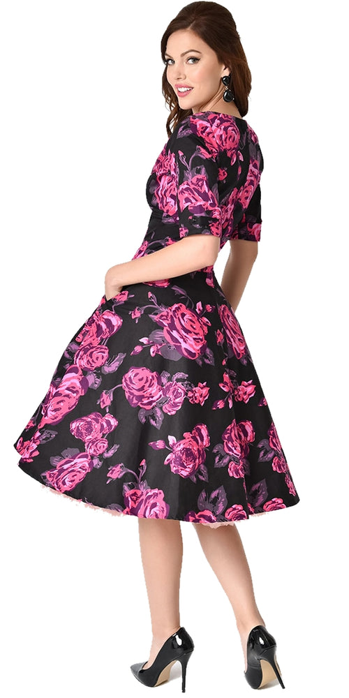 Delores Black With Pink Floral Swing Dress