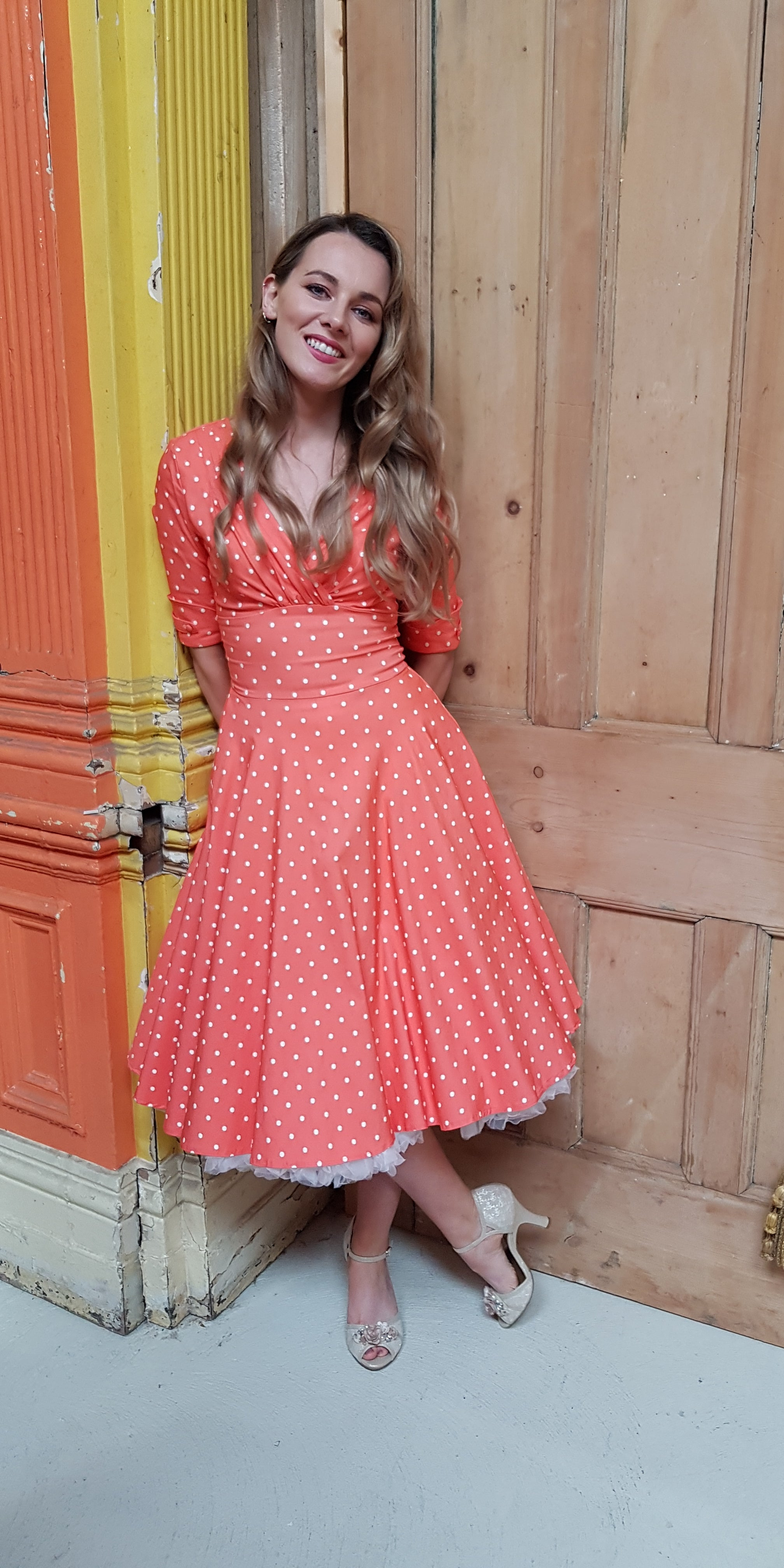 Delores Coral Polka Dot Swing Dress