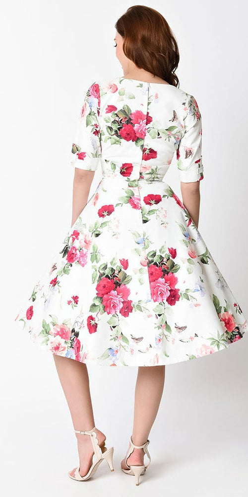 Delores White Floral Swing Dress