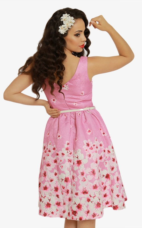 07a8e96b8407 Delta Pink Blossom Jacquard Swing Dress – Rock Frocks