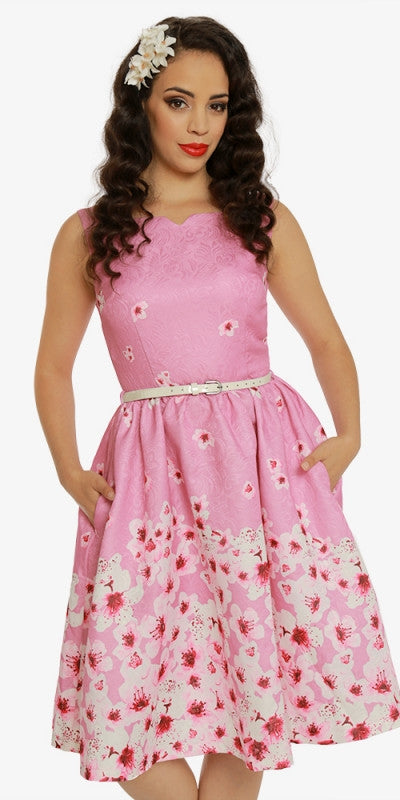 Delta Pink Blossom Jacquard Swing Dress
