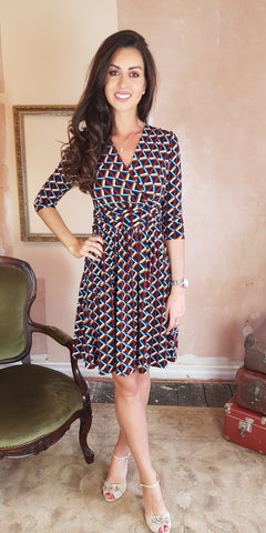 Caroline Red Splash Print 3/4 Sleeve Dress