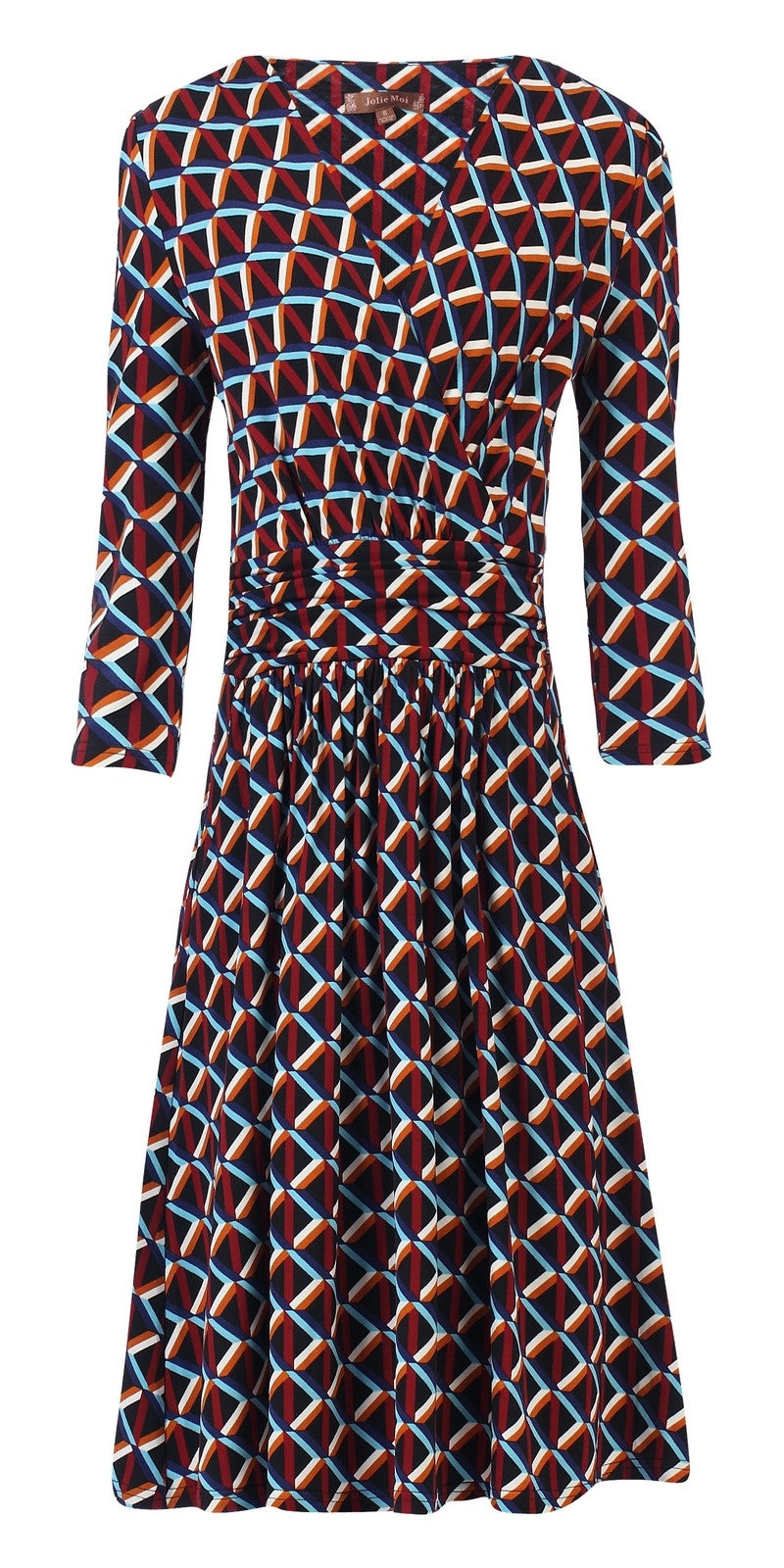 Diane Abstract Print Dress With Sleeves