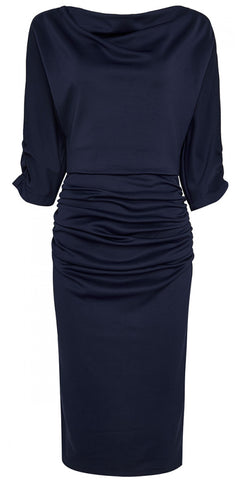Lace 3/4 Sleeve Bolero Style Swing Dress - Royal Blue