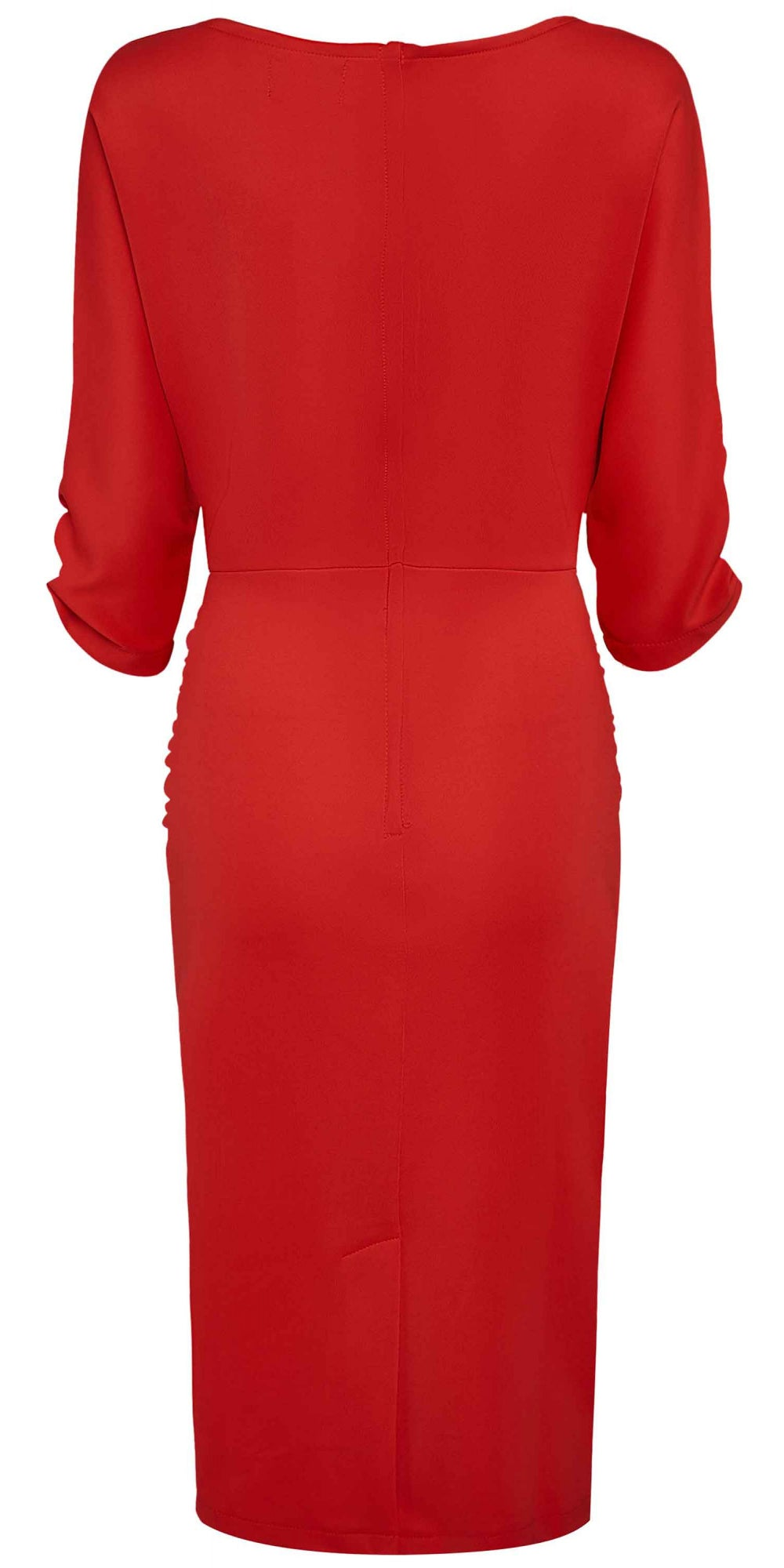 Diane Ruffle Waist Wiggle Dress - Red