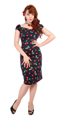 Claudia Flirty 50's Polka Dot Swing Dress - Navy/White