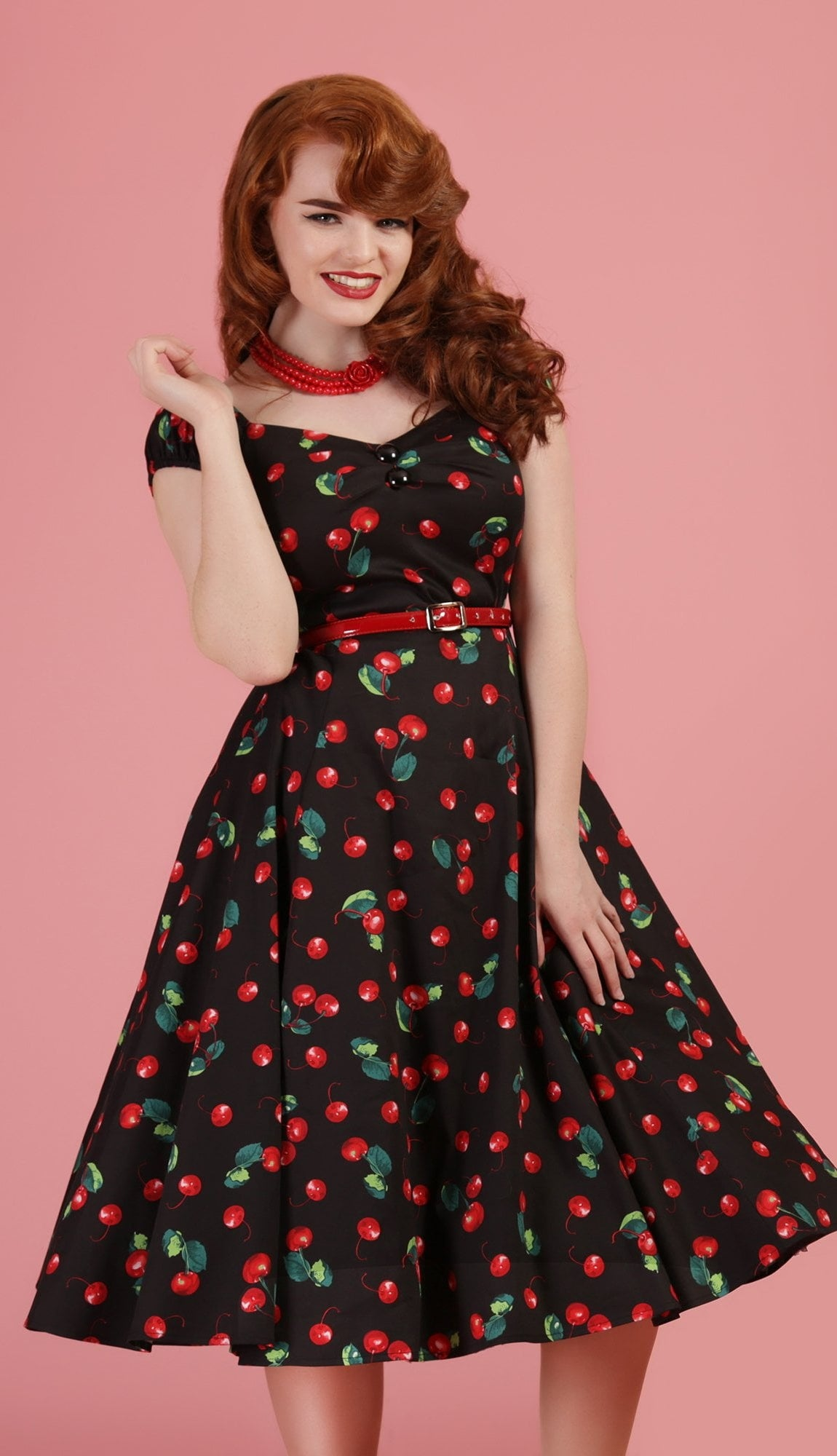 Dolores Cherry Print Swing Dress
