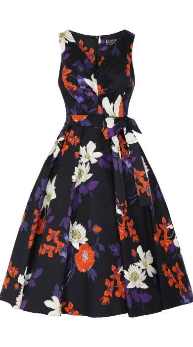 Dorothy Black Japanese Floral Swing Dress
