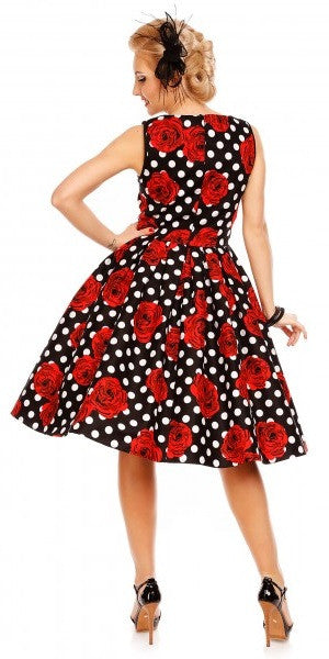 Elizabeth Vintage Swing Dress - Black Polka Dot and Red Roses
