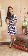 Emily Navy Geo Print Dress with Knot Tie Front