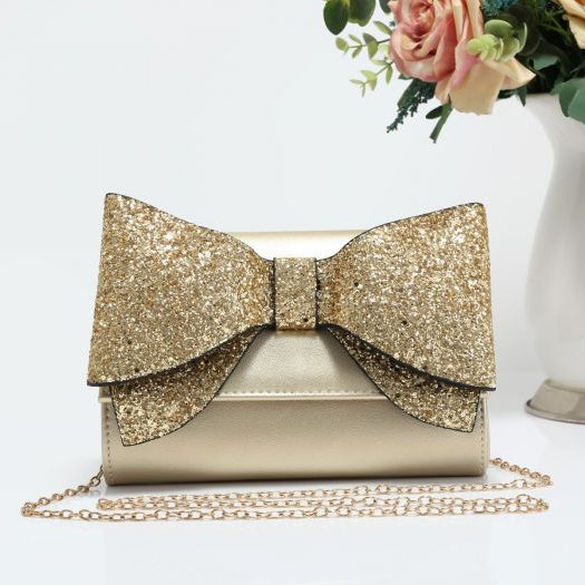 Emma Sparkle Bow Clutch Bag