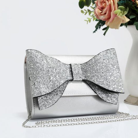 Silver Metallic Clutch Bag