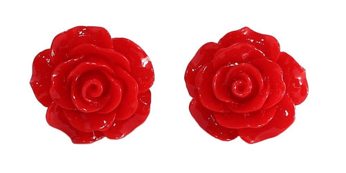 English Rose Stud Earrings - Red