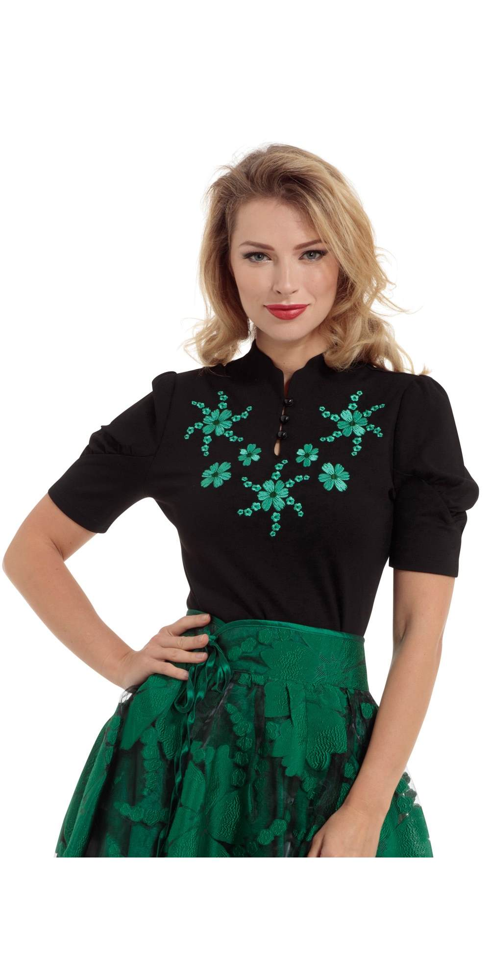 Estelle Puff Sleeve Black Printed Top
