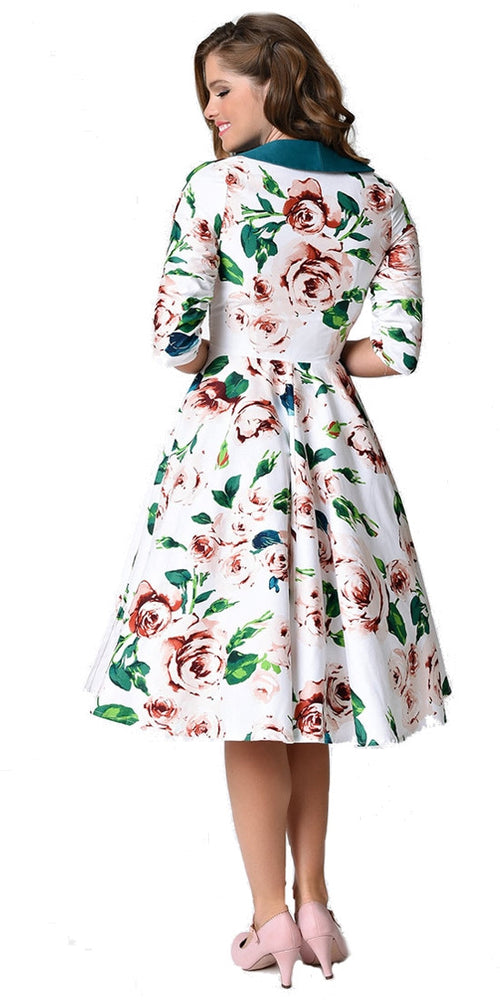 Eva Marie White Floral Swing Dress