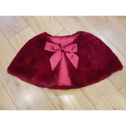 Faux Fur Cape Satin Tie Ribbon - Burgundy