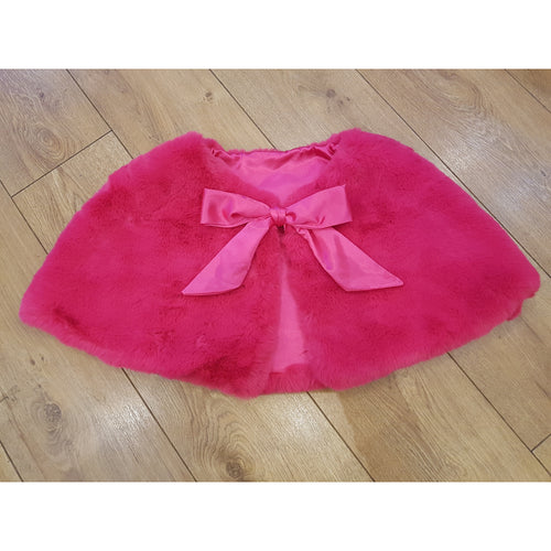 Faux Fur Cape Satin Tie Ribbon - Fuchsia Pink