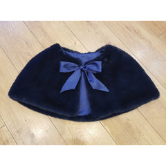 Faux Fur Cape Satin Ribbon Tie - Navy