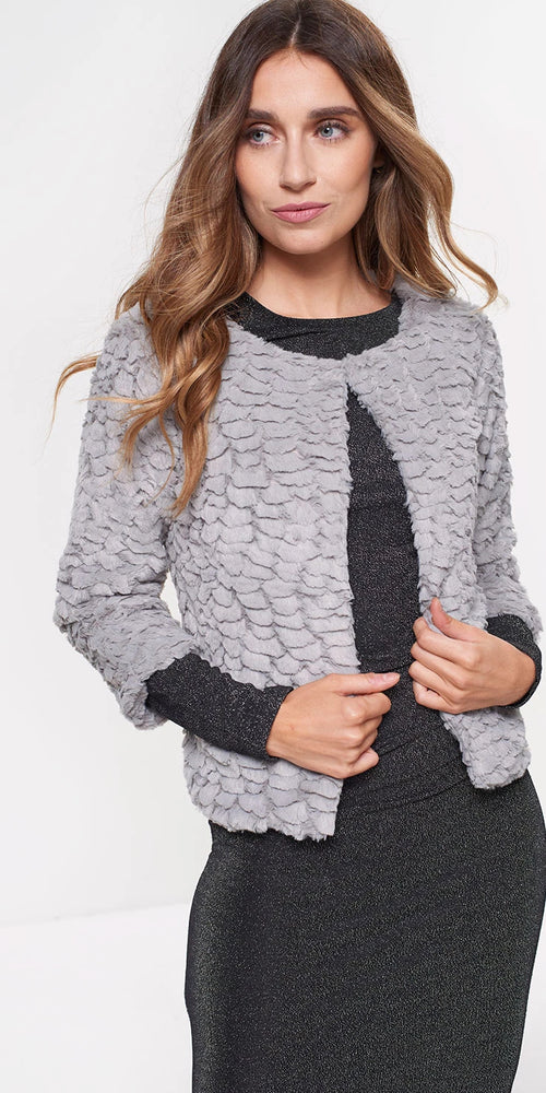 Faux Fur Cropped Jacket - Grey