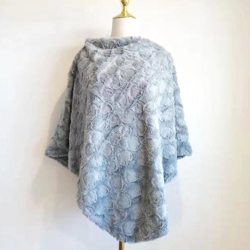 Grey Poncho - Soft Faux Fur