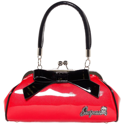 Floozy Retro Purse Red with Black Bow Bag