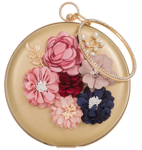 Round Clutch 3D Flowers - Gold
