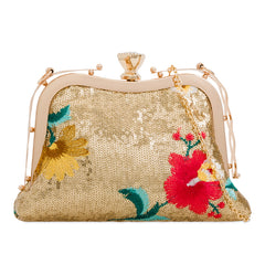 Gold Sequins Floral Embroidery Clutch Bag