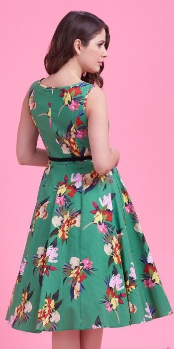 Hepburn Emerald Green Floral Swing Dress