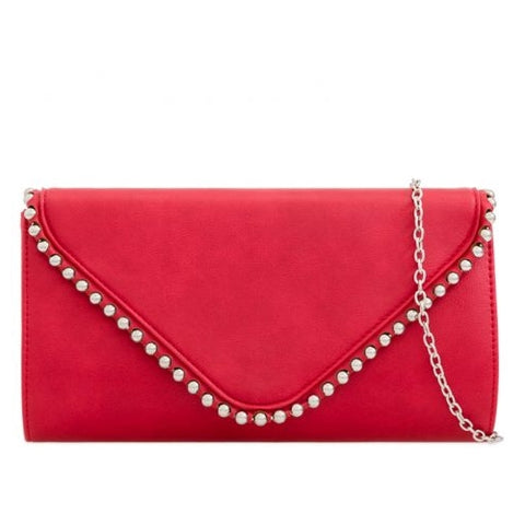 Red Suede Clutch Bag 3D Rose