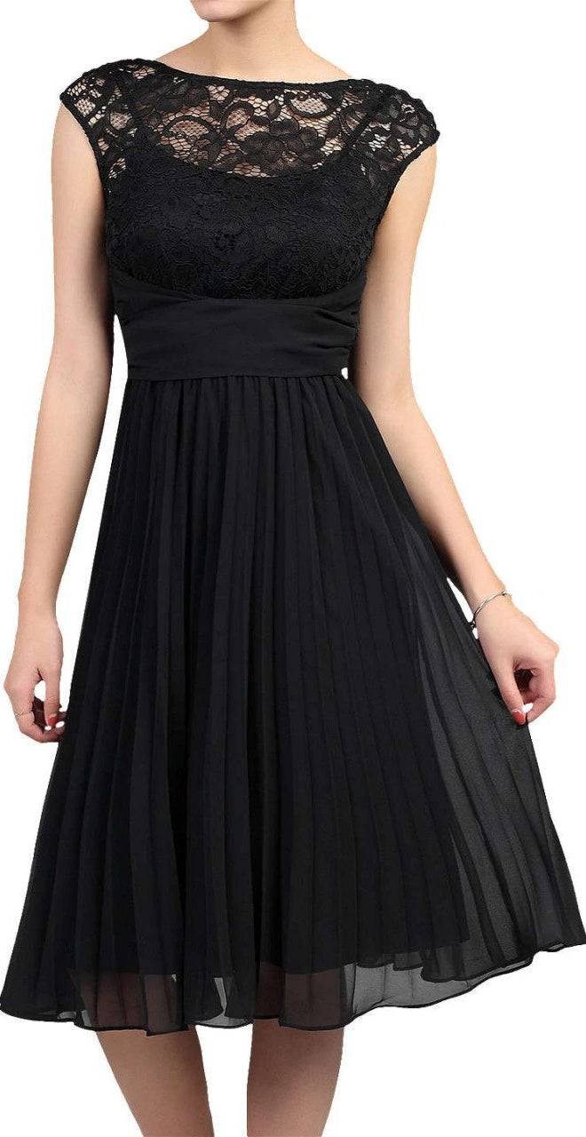 Jess Lace & Chiffon Pleated Dress - Black