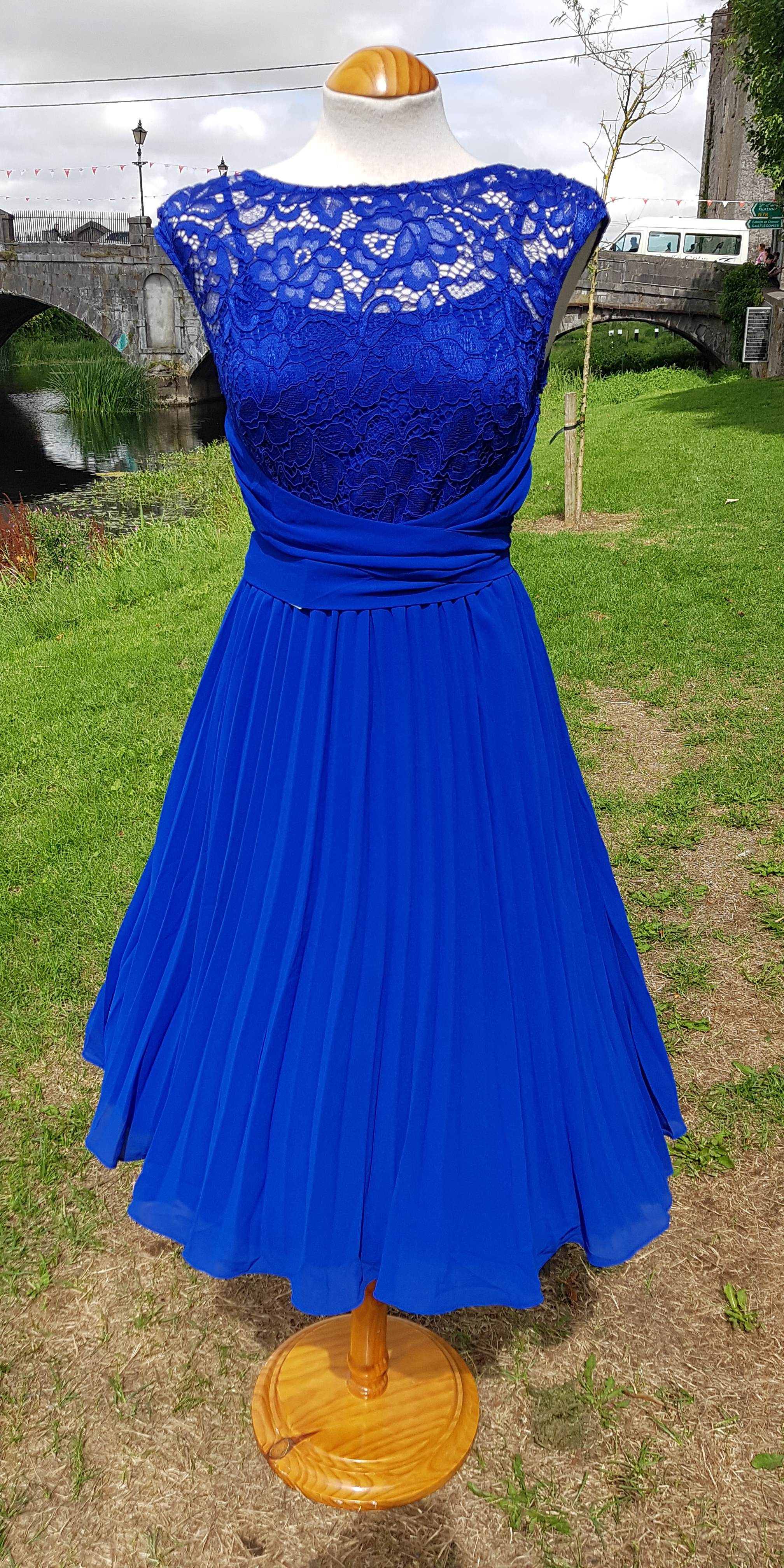 b83607bf2159 Jess Lace and Chiffon Pleated Dress - Royal Blue – Rock Frocks