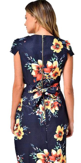 Julie Tropical Tulip Dress Navy