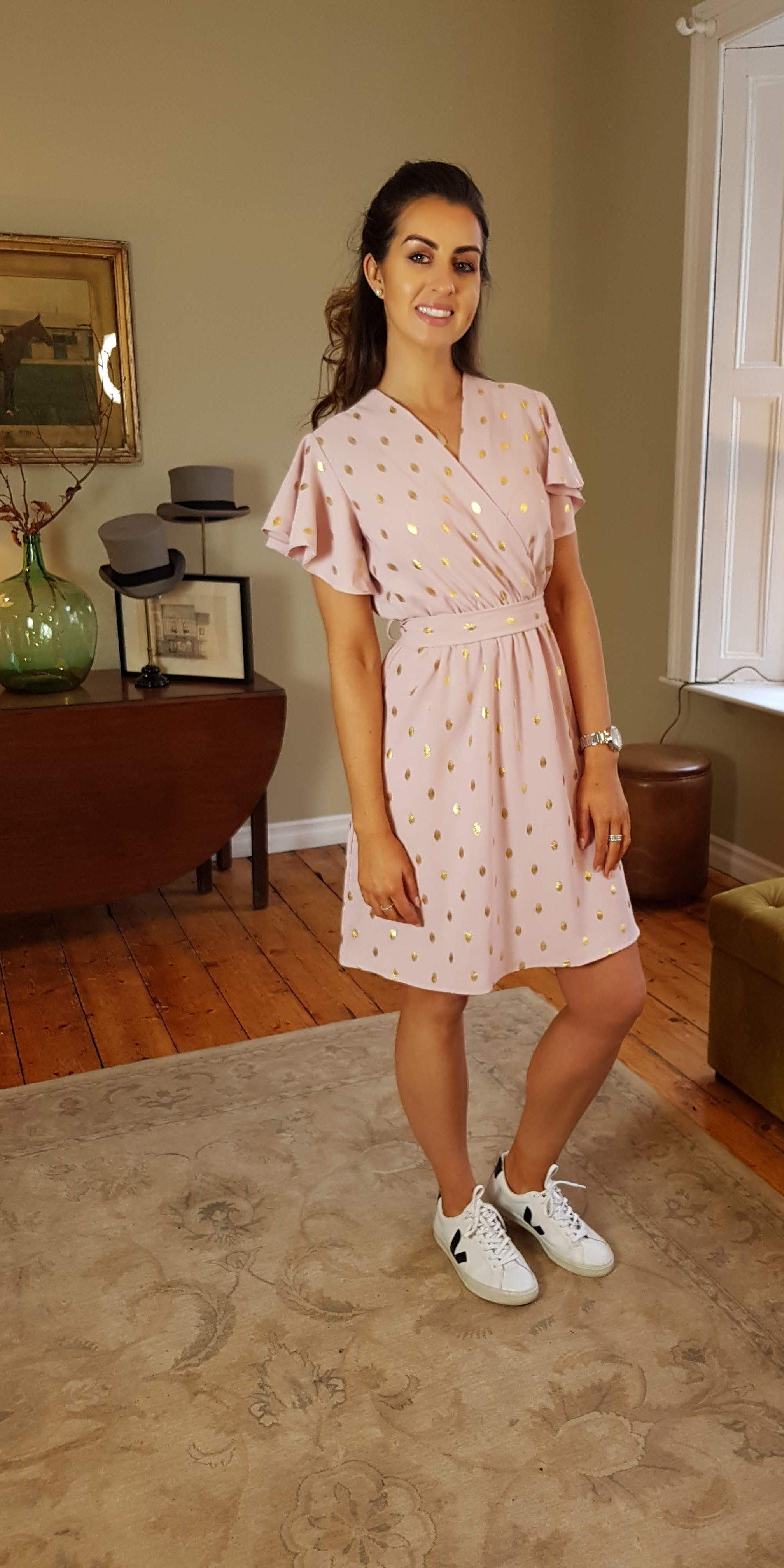 Kate Gold Leaf Print Dress (Pink)