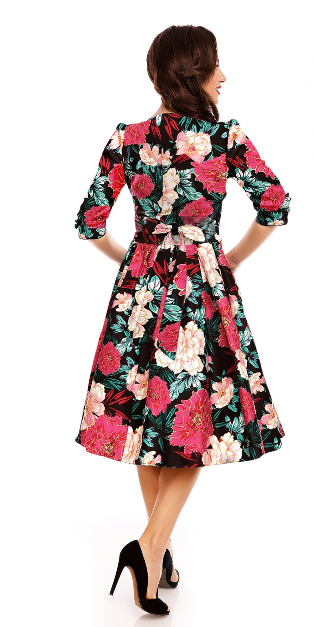 Katherine Swing Dress 3/4 Sleeves Pink/Gold Floral