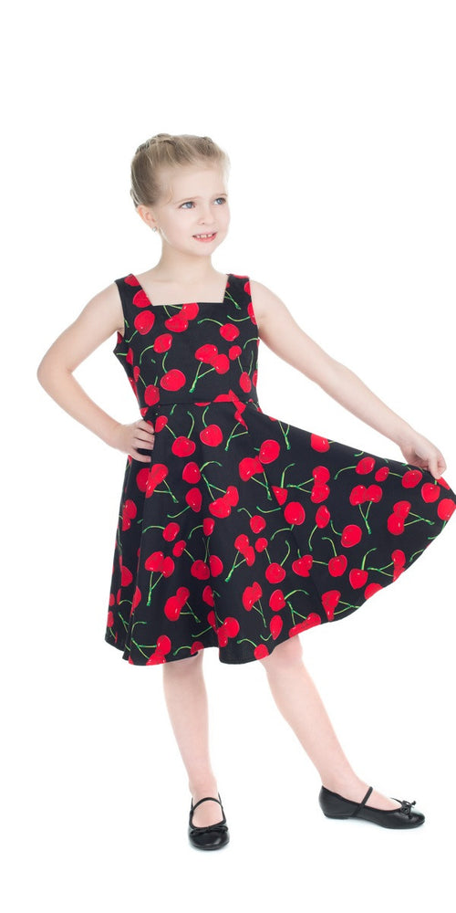 f8bdbc1be480 Kids Black Bombshell Cherry Swing Dress