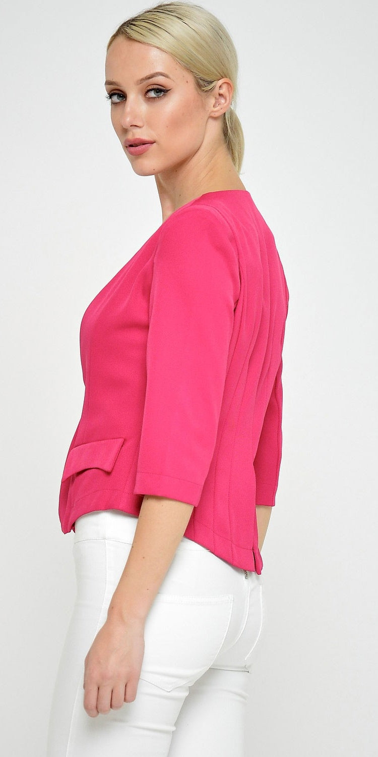 Tailored Cropped Blazer Fuchsia
