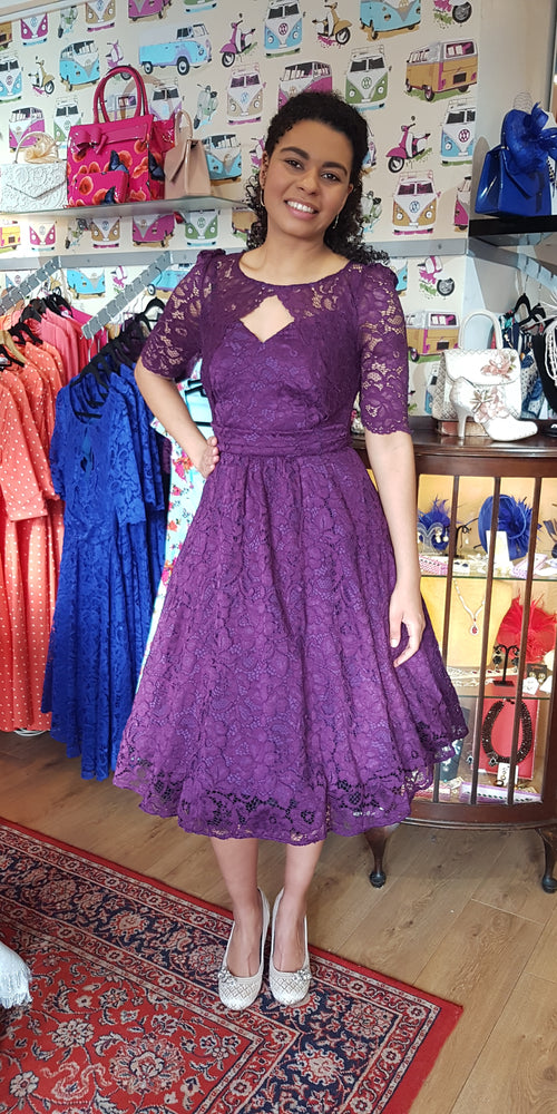 Lace 3/4 Sleeve Bolero Style Swing Dress - Purple