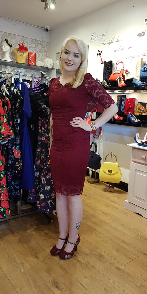 Lace Pencil Dress 3/4 Sleeves - Burgundy