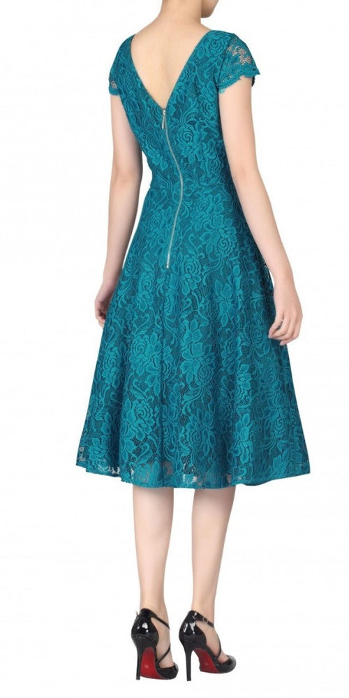 Lace Capped Sleeve Swing Dress - Teal