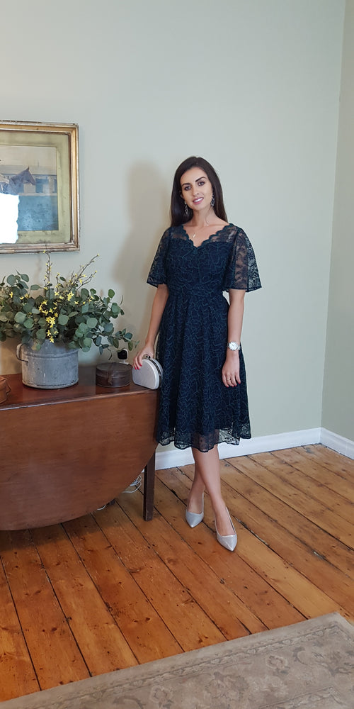 Lace Midi Dress Navy & Green