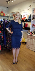 Lace Pencil Dress 3/4 Sleeve - Navy