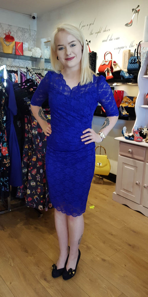 Lace Pencil Dress 3/4 Sleeve - Royal Blue